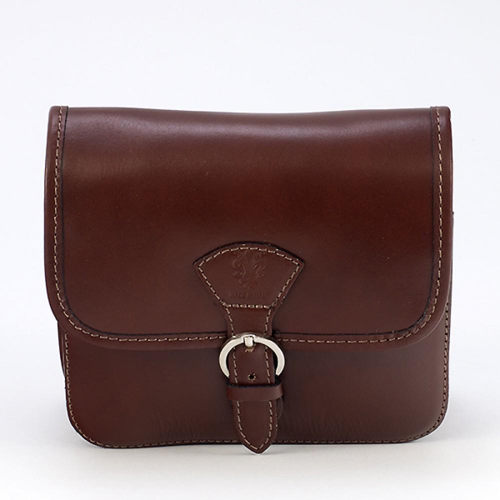КОД : 0016 Малка дамска чанта от естествена кожа в кафяв цвят