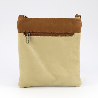 КОД : 0090 Дамска чанта от естествена кожа в цвят бежово с тиква