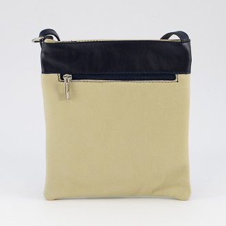 КОД : 0090 Дамска чанта от естествена кожа в цвят бежово със синьо